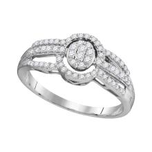 0.33 CTW Diamond Oval Cluster Triple Strand Ring 10KT White Gold - REF-19Y4X