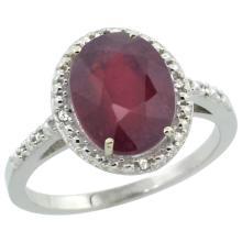 Natural 3.66 ctw Ruby & Diamond Engagement Ring 14K White Gold - REF-39M7H