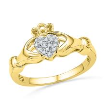 0.06 CTW Diamond Claddagh Hands & Heart Cluster Ring 10KT Yellow Gold - REF-19Y4X