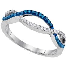 0.22 CTW Blue Color Diamond Double Row Ring 10KT White Gold - REF-14X9Y