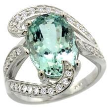 Natural 6.24 ctw aquamarine & Diamond Engagement Ring 14K White Gold - REF-164W7K