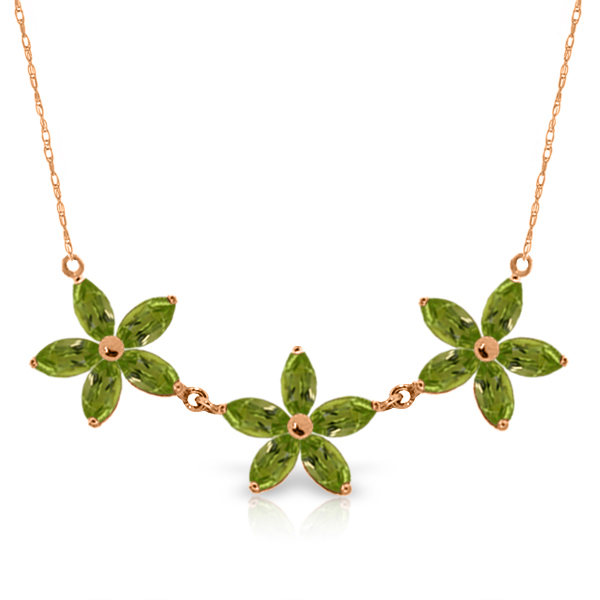 4.2 ctw Peridot Necklace Jewelry 14KT Rose Gold - GG-5158-REF#60F7Z