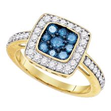 1 CTW Blue Color Diamond Square Cluster Ring 10KT Yellow Gold - REF-49K5W