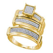 0.42 CTW His & Hers Diamond Matching Bridal Ring 10KT Yellow Gold - REF-59M9H