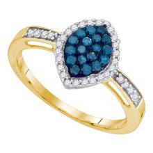0.31 CTW Blue Color Diamond Oval Cluster Ring 10KT Yellow Gold - REF-19H4M