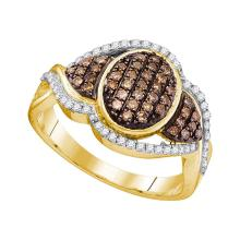 0.50 CTWCognac-brown Color Diamond Oval Cluster Ring 10KT Yellow Gold - REF-36N2F