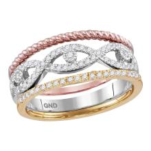 0.33 CTW Diamond Stackable Rope Ring 10KT Tri-Tone Gold - REF-37X5Y