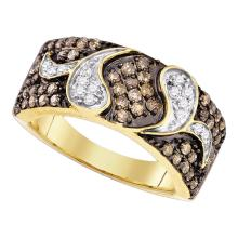 0.85 CTW Cognac-brown Color Diamond Cocktail Ring 10KT Yellow Gold - REF-49K5W