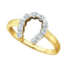 0.05 CTW Diamond Simple Lucky Horseshoe Ring 10KT Two-tone Gold - REF-8M9H