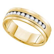 0.50 CTWMens Channel-set Diamond Single Row Wedding Ring 14KT Yellow Gold - REF-89K9W