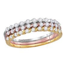 0.51 CTW Diamond Ring 10KT Tri-tone Gold - REF-34X4Y