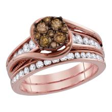 1 CTW Cognac-brown Color Diamond Bridal Ring 14KT Rose Gold - REF-112W5K