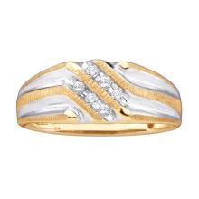 0.14 CTW Mens Diamond Double Row Two-tone Ridged Wedding Ring 10KT Yellow Gold - REF-19H4M