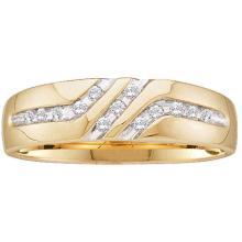 0.12 CTW Mens Channel-set Diamond Triple Row Wedding Ring 10KT Yellow Gold - REF-14H9M