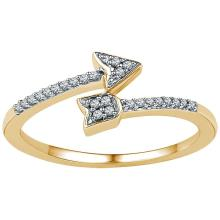 0.08 CTW Diamond Bisected Arrow Ring 10KT Yellow Gold - REF-10H5M