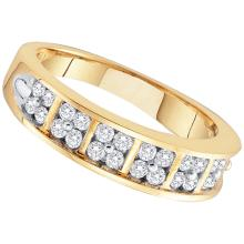 0.50 CTWDiamond Double Row Ring 14KT Yellow Gold - REF-57W2K
