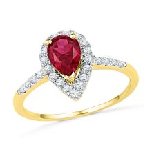 1.21 CTW Pear Created Ruby Solitaire Diamond  Ring 10KT Yellow Gold - REF-34M4H