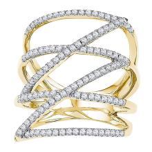 0.50 CTWDiamond Crossover Strand Fashion Ring 10KT Yellow Gold - REF-37W5K