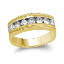 0.99 CTW Mens Diamond Single Row Milgrain Wedding Ring 10KT Yellow Gold - REF-154W4K