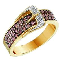 0.50 CTWCognac-brown Color Diamond Belt Buckle Ring 14KT Yellow Gold - REF-55F5N