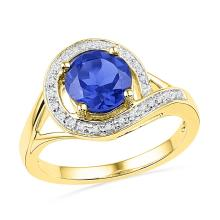 1.88 CTW Created Blue Sapphire Solitaire Diamond Ring 10KT Yellow Gold - REF-25W4K