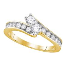 1.02 CTW Diamond 2-stone Hearts Together Bridal Ring 14KT Yellow Gold - REF-116F2N