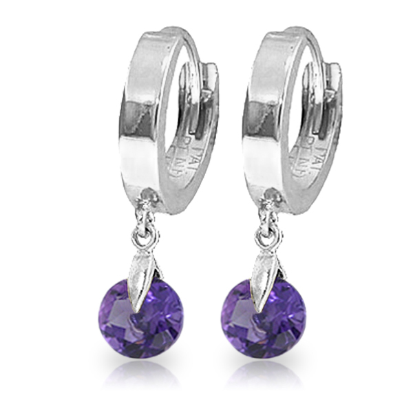 Genuine 1.50 ctw Amethyst Earrings Jewelry 14KT White Gold - REF-25V8W