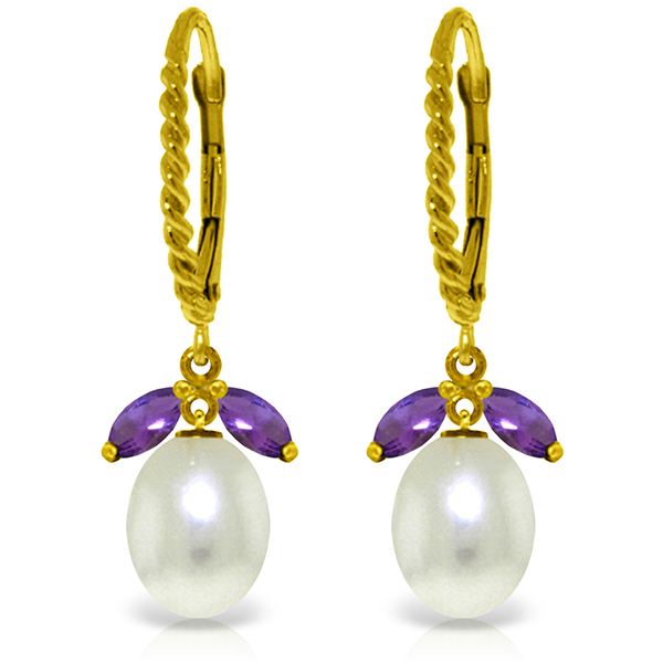 Genuine 9 ctw Amethyst & Pearl Earrings Jewelry 14KT Yellow Gold - REF-39X3M