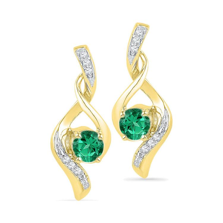 0.33 CTW Created Emerald Solitaire Diamond Earrings 10KT Yellow Gold - REF-14W9K