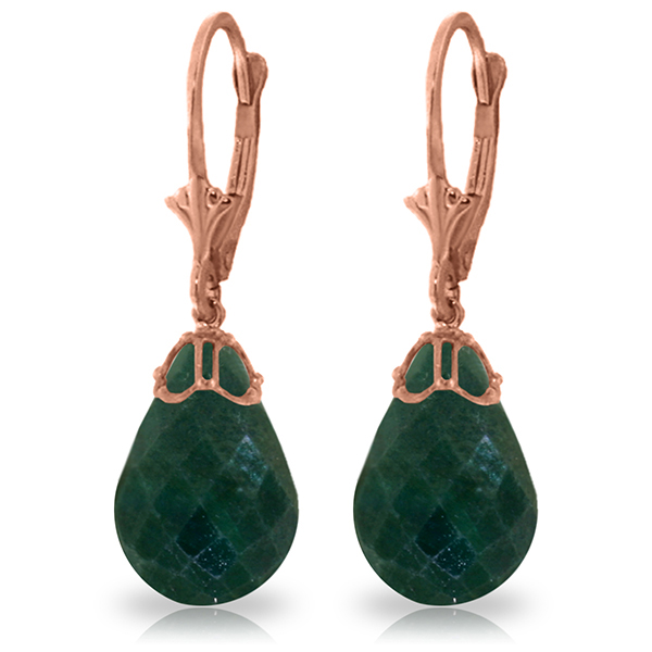 Genuine 29.6 ctw Green Sapphire Corundum Earrings Jewelry 14KT Rose Gold - REF-40H7X