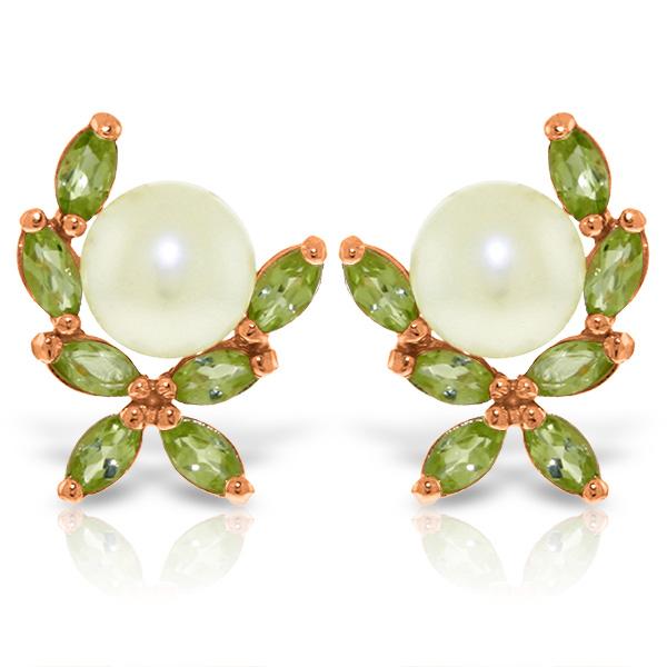 Genuine 3.25 ctw Pearl & Peridot Earrings Jewelry 14KT Rose Gold - REF-30N2R