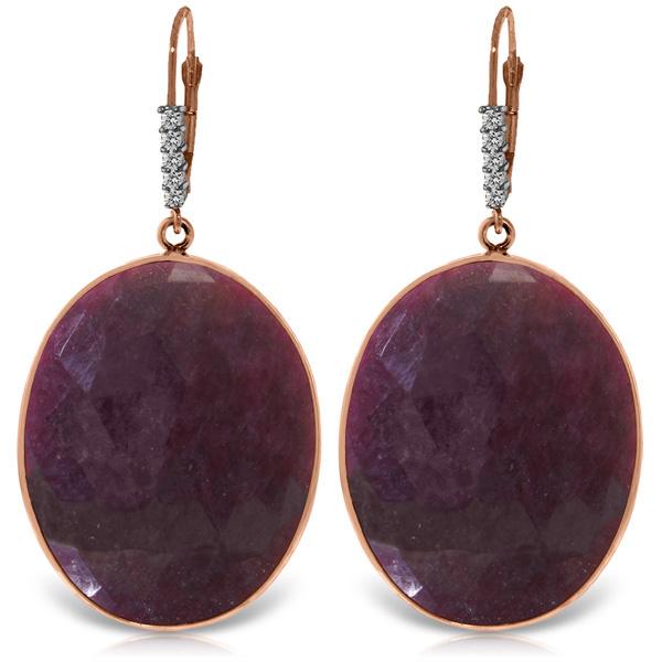 Genuine 39.15 ctw Ruby & Diamond Earrings Jewelry 14KT Rose Gold - REF-125N2R