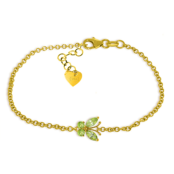 Genuine 0.60 ctw Peridot Bracelet Jewelry 14KT Yellow Gold - REF-41P6H