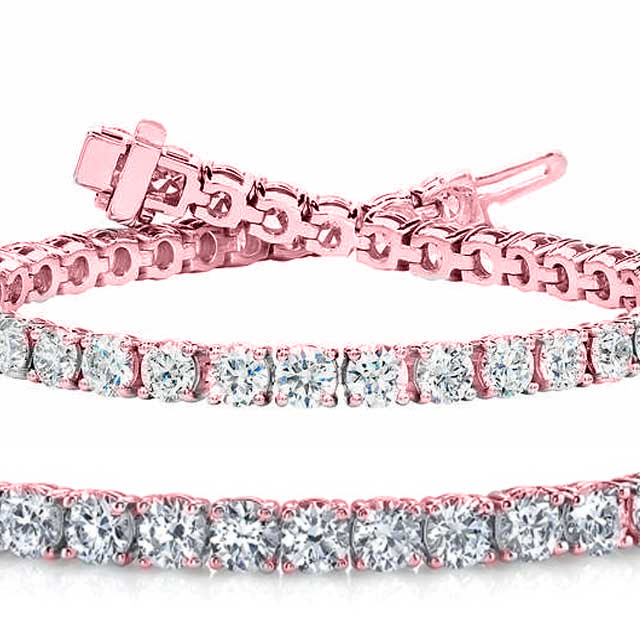 Natural 7.02ct VS-SI Diamond Tennis Bracelet 14K Rose Gold - REF-592X5F