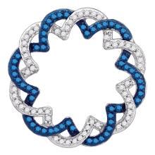 0.33 CTW Blue Color Diamond Circle Pendant 10KT White Gold - REF-19N4F