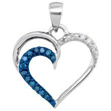0.10 CTW Blue Color Diamond Heart Outline Pendant 10KT White Gold - REF-8N9F