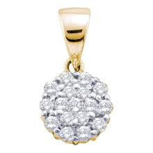 0.25 CTW Diamond Flower Cluster Pendant 14KT Yellow Gold - REF-24X2Y