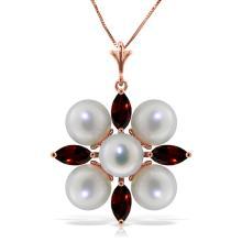 Genuine 6.3 ctw Garnet & Pearl Necklace Jewelry 14KT Rose Gold - REF-59F2Z