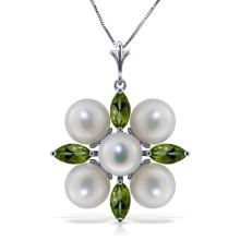 Genuine 6.3 ctw Peridot & Pearl Necklace Jewelry 14KT White Gold - REF-59P2H