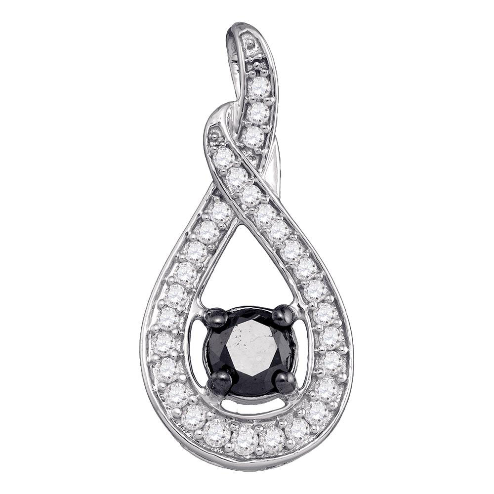 0.25 CTW Black Color Diamond Teardrop Pendant 10KT White Gold - REF-37N5F