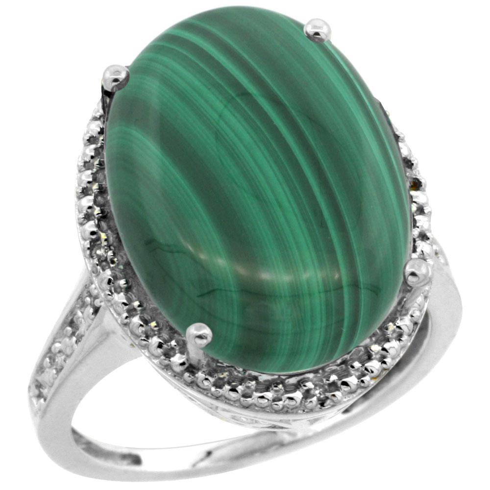 Natural 14.04 ctw Malachite & Diamond Engagement Ring 10K White Gold - REF-42R3Z