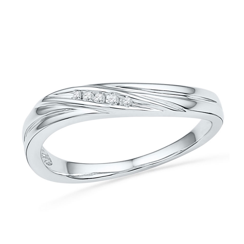 0.02 CTW Diamond Ring 10KT White Gold - REF-11X2Y