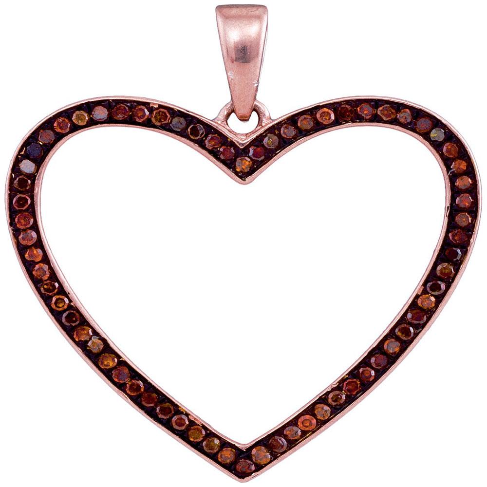 0.20 CTW Red Color Diamond Heart Love Pendant 10KT Rose Gold - REF-32H9M