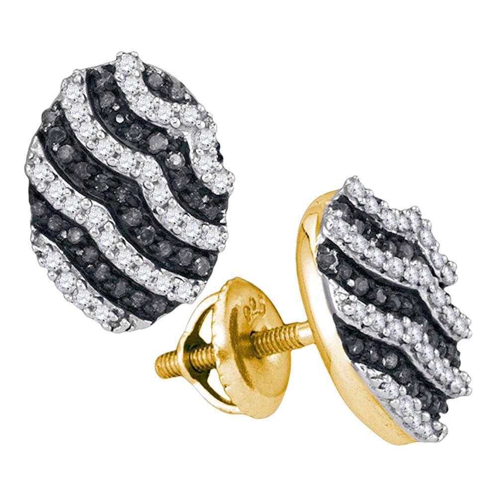 0.45 CTW Black Color Diamond Oval Cluster Earrings 10KT Yellow Gold - REF-26K9W