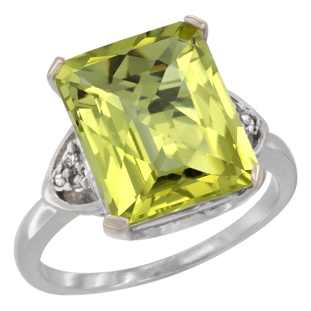 Natural 5.44 ctw lemon-quartz & Diamond Engagement Ring 14K White Gold - REF-43R9Z