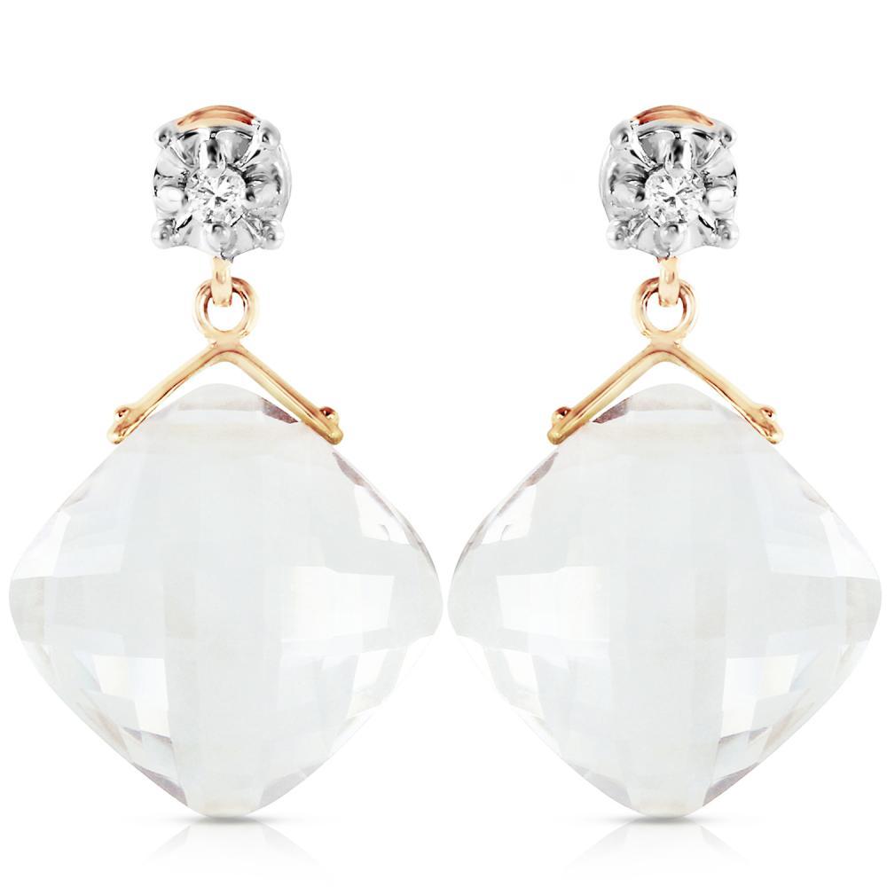 Genuine 17.56 ctw White Topaz & Diamond Earrings Jewelry 14KT Yellow Gold - REF-46Y5F