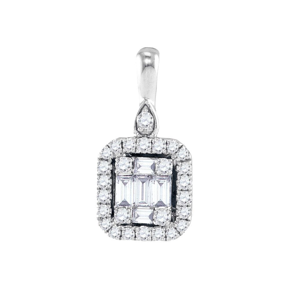 0.17 CTW Diamond Square Pendant 18KT White Gold - REF-97Y4X