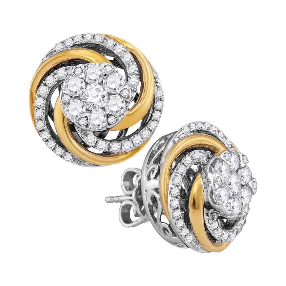 0.96 CTW Diamond Flower Cluster Earrings 10KT Two-tone Gold - REF-104H9M