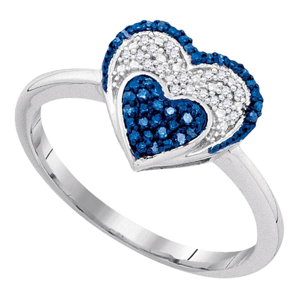 0.10 CTW Blue Color Diamond Small Heart Cluster Ring 10KT White Gold - REF-18H2M
