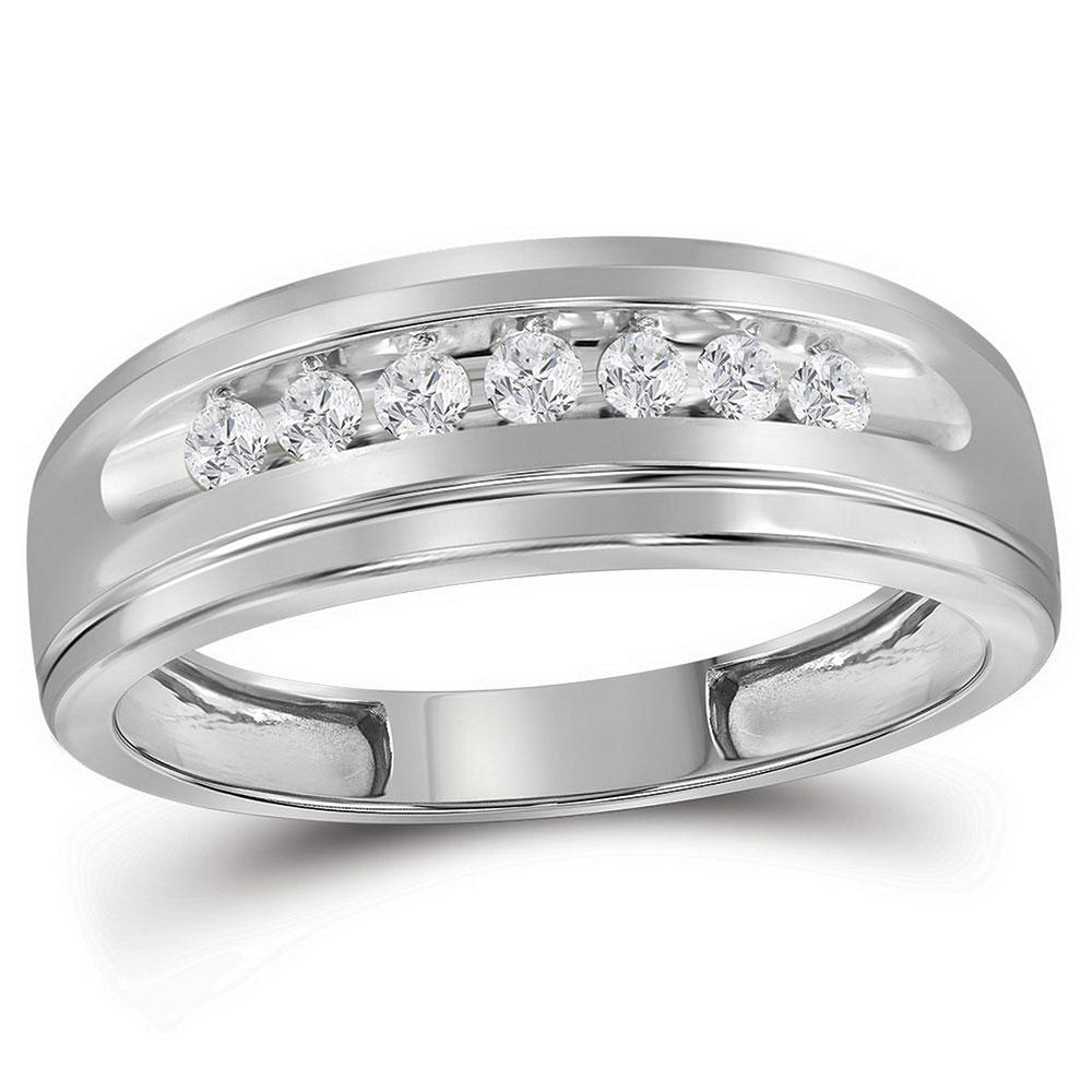 0.23 CTW Mens Diamond Wedding Ring 10KT White Gold - REF-26N9F